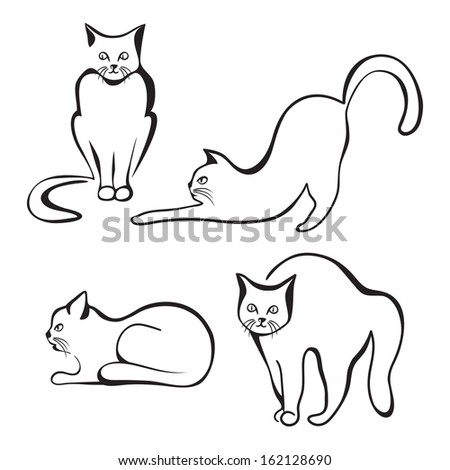 Collection of various cat silhouettes. Sitting cat, lying cat, stretching cat and one cat with round back - stock photo