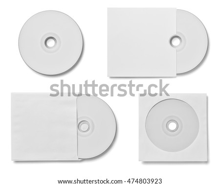 collection of various cd and dvd disc on white background. each one is shot separately
