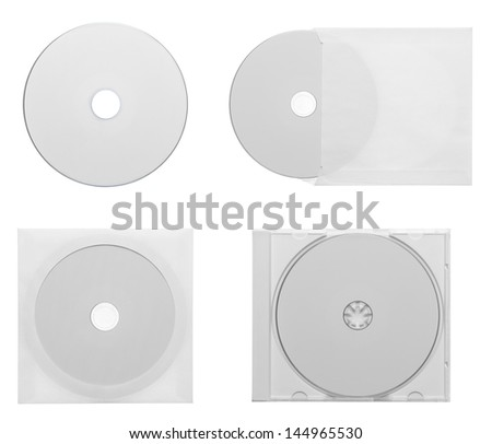 Collection of various CD - DVD  isolated on white - stock photo