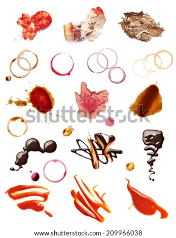 collection of various coffee, wine, ketchup, chocolate and cake stains on white background. each one is shot separately - stock photo