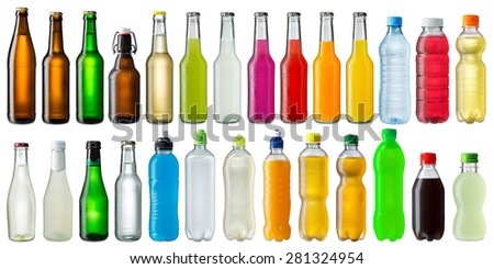 collection of various cold beverage bottles - stock photo