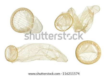 collection of  various condoms on white background . each one is shot separately - stock photo