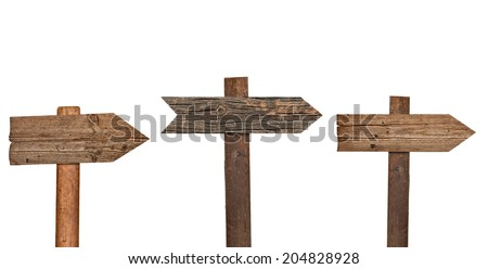 collection of various  empty wooden sign on white background. each one is shot separately - stock photo