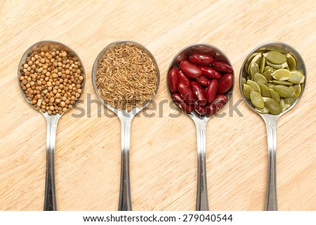 collection of various food ingredients in spoon,top view - stock photo