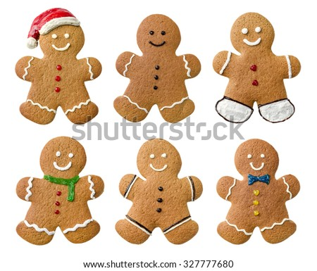 Collection of various gingerbread men on a white background - stock photo