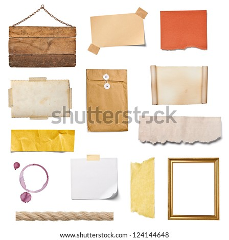 collection of various grunge paper pieces and objects on white background. each one is shot separately