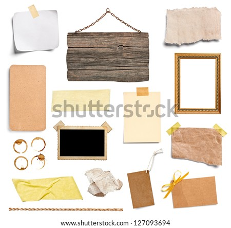 collection of various grunge paper pieces and objects on white background. each one is shot separately - stock photo