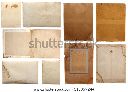 Collection of various grunge paper pieces, isolated on white background. - stock photo