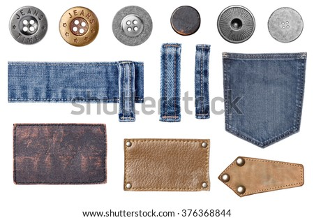 collection of various jeans parts. each one is shot separately - stock photo