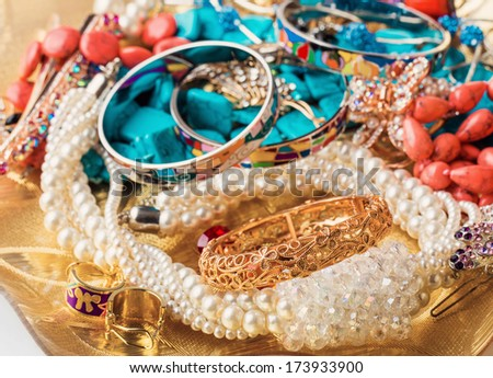 collection of various jewellery - stock photo