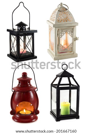 Collection of various lanterns isolated on white - stock photo