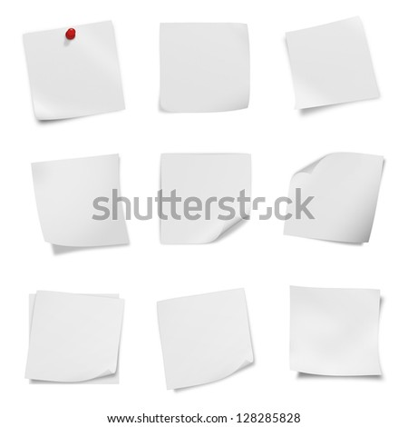 collection of various leaflet blank white paper on white background.