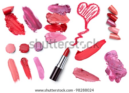 collection of  various lipstick on white background. each one is shot separately - stock photo