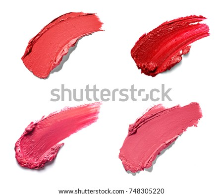 Red Color Lipstick Smudge Zigzag Stroke Stock Photo