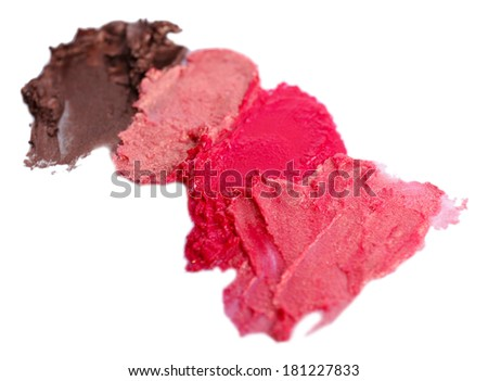 Collection of various lipstick smeared, isolated on white