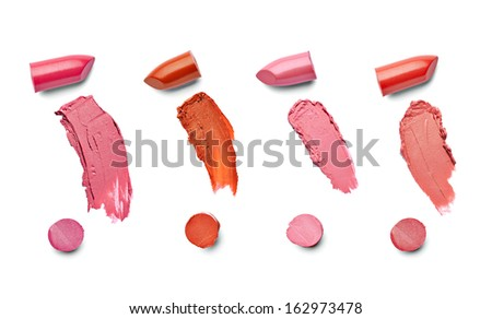 collection of  various lipsticks  on white background. each one is shot separately - stock photo