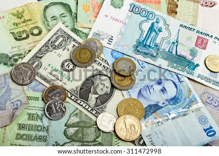 Collection of various money to background - stock photo