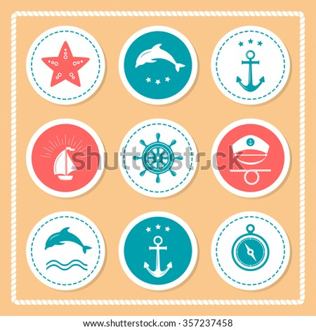 Collection of various nautical elements for design and page decoration. Set of Vintage frames, blank retro badges and labels. Summer holidays, travel, vacation, adventure labels template set.