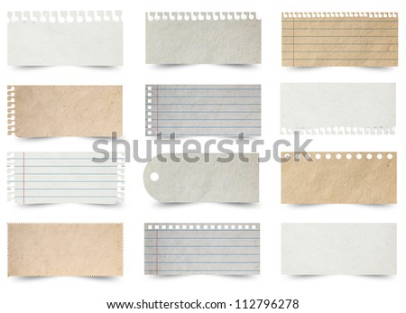 Collection of various note papers, isolated on white background (Save Paths For design work) - stock photo