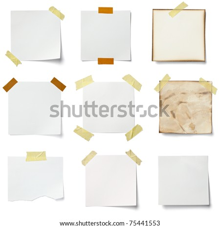 collection of various  note papers on white background. each one is shot separately