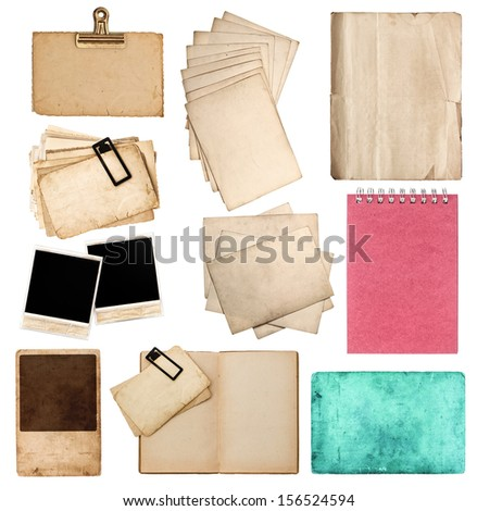 collection of various old paper sheets and pictures. vintage photo album and book pages, cards, pieces isolated on white background - stock photo