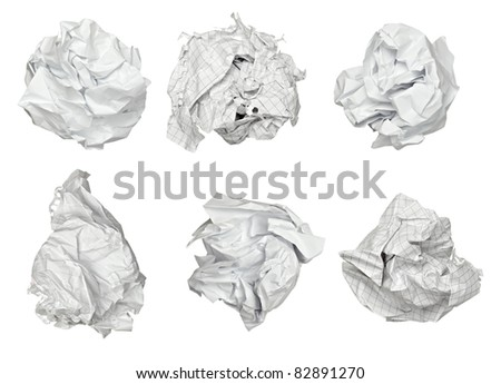 collection of various paper ball on white background. each one is shot separately