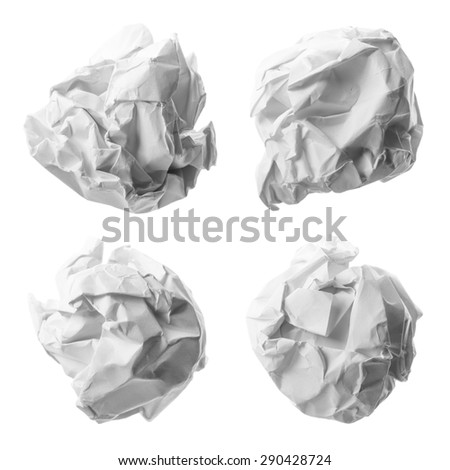 Collection of various paper ball on white background with clipping path. - stock photo