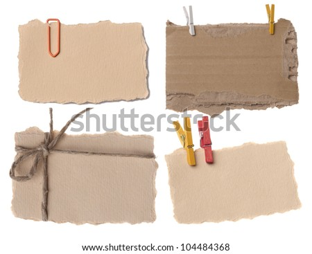 collection of various paper notes or tags - stock photo