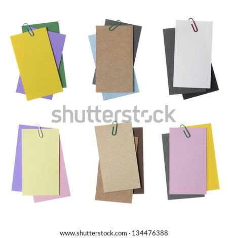 Collection of various paper notes with clip isolated on white - stock photo