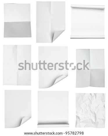 collection of various papers on white background. each one is shot separately - stock photo