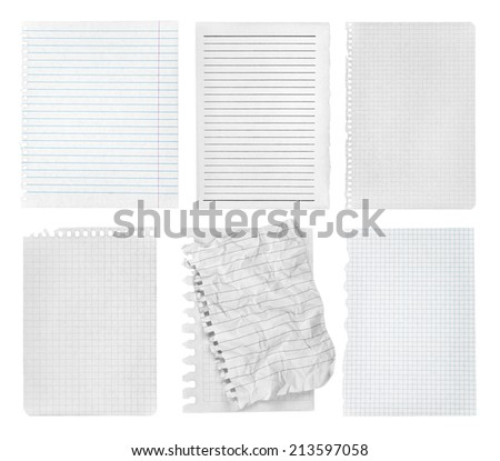 collection of various pieces of note pages on white background. each one is shot separately - stock photo