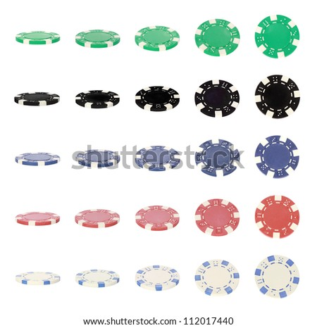 Collection of various poker chips on white background - stock photo