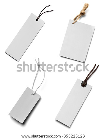 collection of  various price label notes on white background. each one is shot separately