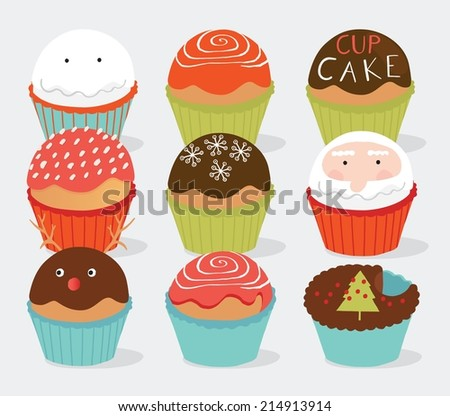 Collection of various realistic cupcakes for Print