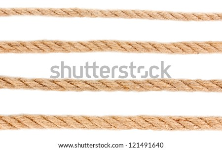 Collection of various ropes isolated on white - stock photo