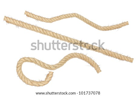 collection of various ropes on white background. - stock photo