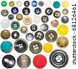 collection of various sewing button on white background - stock photo
