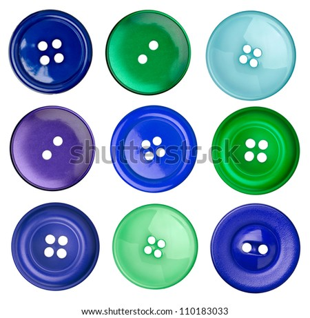collection of various sewing button on white background. each on is shot separately
