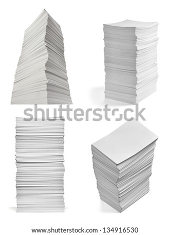 collection of various  stack of papers on white background. each one is shot separately