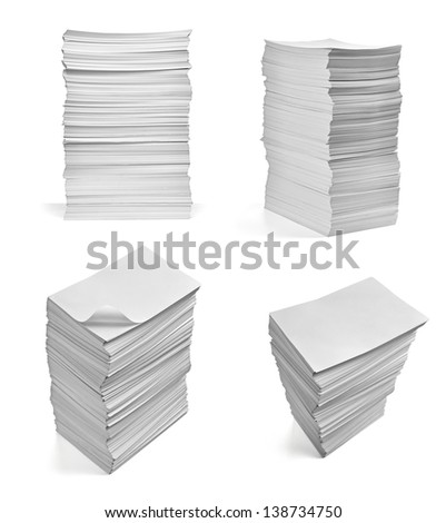 collection of various  stack of papers on white background. each one is shot separately - stock photo