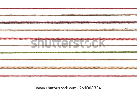 collection of  various strings on white background. each one is shot separately - stock photo
