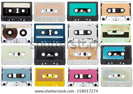 collection of various vintage audio tapes on white background. each one is shot separately - stock photo