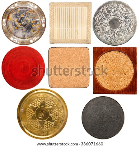 Collection of various vintage table coasters isolated on white background - stock photo
