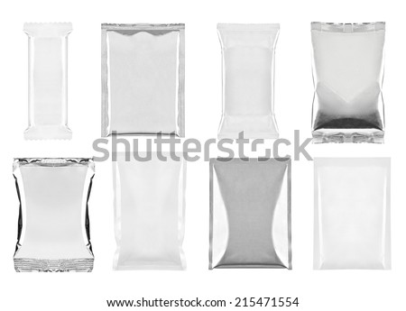 collection of  various white and aluminum bag and packages on white background. each one is shot separately - stock photo