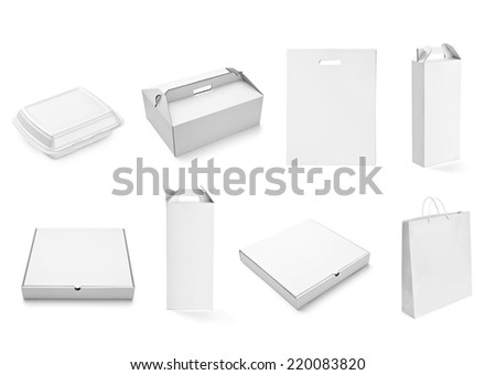 collection of  various white box, bag and package on white background. each one is shot separately - stock photo