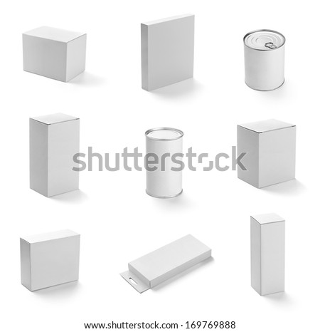 collection of  various white boxes and tin can on white background. each one is shot separately - stock photo