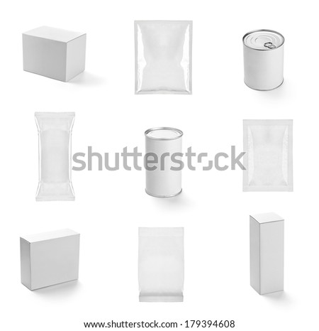 collection of  various white boxes, bags  and tin can on white background. each one is shot separately - stock photo