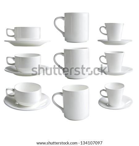 collection of various white coffee cups on white background.