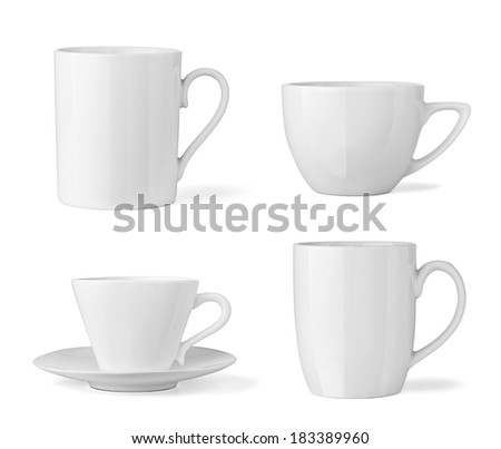 collection of  various white cup on white background. each one is shot separately