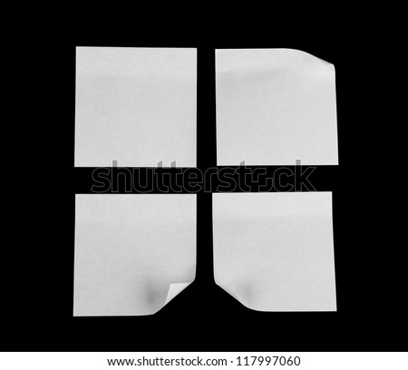 collection of various white note papers on black background - stock photo